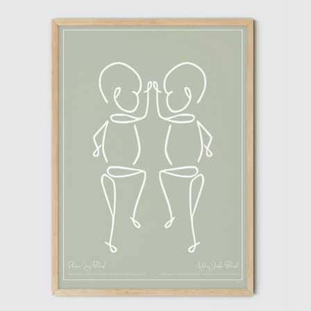 Twin or Siblings Birth Print, Olive
